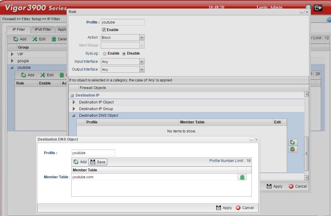 a screenshot of adding destination DNS object in the firewall rule