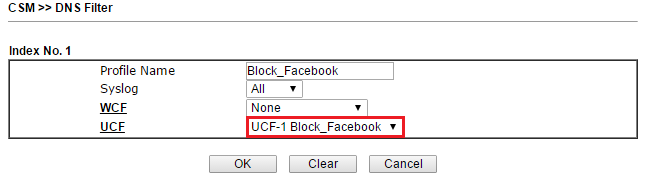 Block facebook draytek 2830