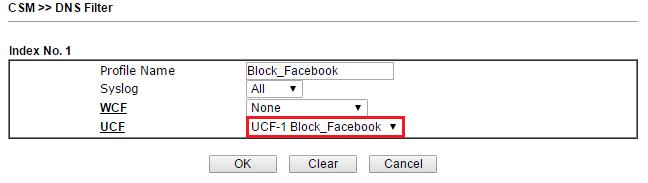 Block facebook draytek 2830