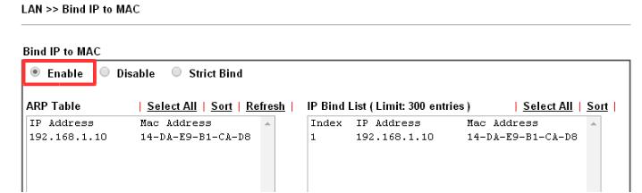 Enable Bind IP to MAC