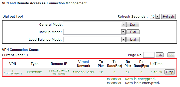 a screenshot of DrayOS VPN connection management page
