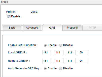 a screenshot of GRE Settings on Vigor3900