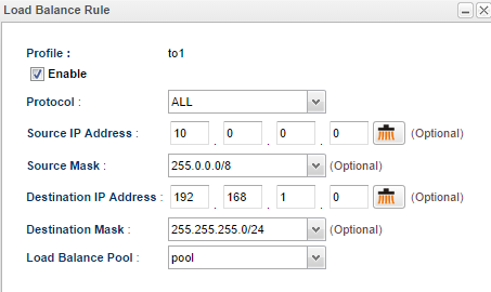 a screenshot of Load Balance Pool configuration on Vigor3900