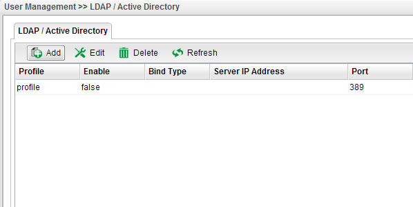 a screenshot of Vigor3900 LDAP/AD profile list